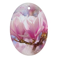 Flowers Magnolia Art Abstract Ornament (oval)