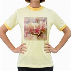 Flowers Magnolia Art Abstract Women s Fitted Ringer T Shirts