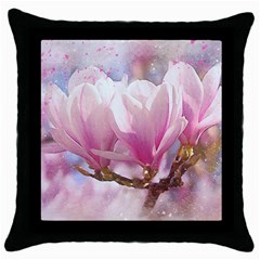 Flowers Magnolia Art Abstract Throw Pillow Case (black)