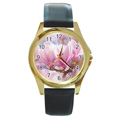 Flowers Magnolia Art Abstract Round Gold Metal Watch