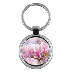 Flowers Magnolia Art Abstract Key Chains (round)