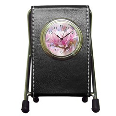 Flowers Magnolia Art Abstract Pen Holder Desk Clocks