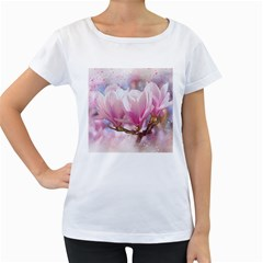 Flowers Magnolia Art Abstract Women s Loose Fit T Shirt (white)