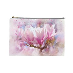 Flowers Magnolia Art Abstract Cosmetic Bag (large)