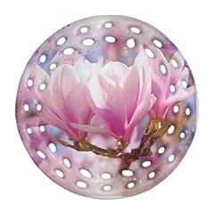 Flowers Magnolia Art Abstract Ornament (round Filigree)