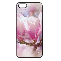 Flowers Magnolia Art Abstract Apple Iphone 5 Seamless Case (black) by Nexatart