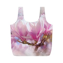 Flowers Magnolia Art Abstract Full Print Recycle Bags (m)  by Nexatart