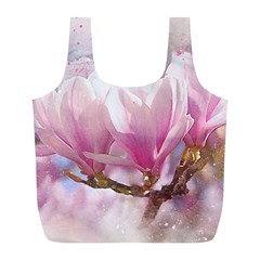 Flowers Magnolia Art Abstract Full Print Recycle Bags (l)