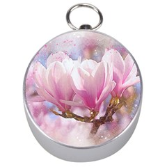 Flowers Magnolia Art Abstract Silver Compasses