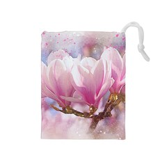 Flowers Magnolia Art Abstract Drawstring Pouches (medium)