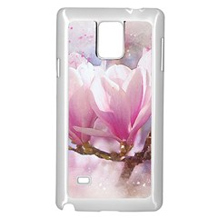 Flowers Magnolia Art Abstract Samsung Galaxy Note 4 Case (white)