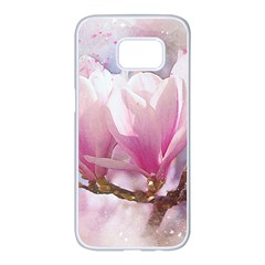 Flowers Magnolia Art Abstract Samsung Galaxy S7 Edge White Seamless Case by Nexatart