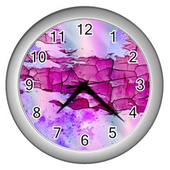 Background Crack Art Abstract Wall Clocks (silver)