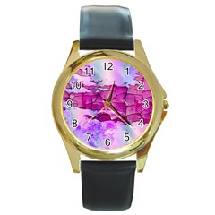 Background Crack Art Abstract Round Gold Metal Watch