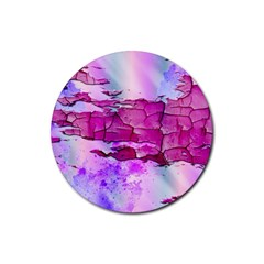 Background Crack Art Abstract Rubber Round Coaster (4 Pack)