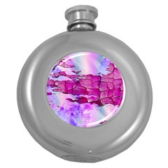 Background Crack Art Abstract Round Hip Flask (5 Oz)