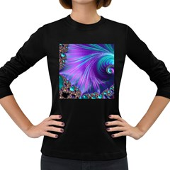 Abstract Fractal Fractal Structures Women s Long Sleeve Dark T Shirts