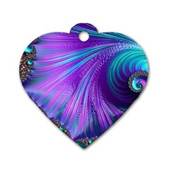 Abstract Fractal Fractal Structures Dog Tag Heart (one Side)