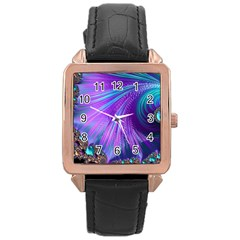 Abstract Fractal Fractal Structures Rose Gold Leather Watch