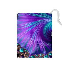 Abstract Fractal Fractal Structures Drawstring Pouches (medium)
