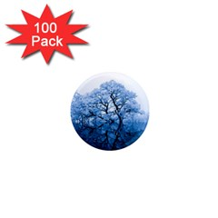 Nature Inspiration Trees Blue 1  Mini Magnets (100 Pack)  by Nexatart