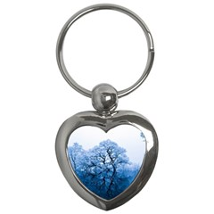 Nature Inspiration Trees Blue Key Chains (heart)