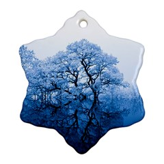 Nature Inspiration Trees Blue Snowflake Ornament (two Sides)