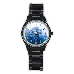 Nature Inspiration Trees Blue Stainless Steel Round Watch