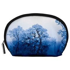 Nature Inspiration Trees Blue Accessory Pouches (large)  by Nexatart