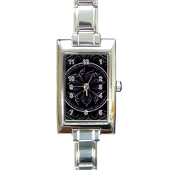 Fractal Abstract Purple Majesty Rectangle Italian Charm Watch