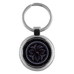 Fractal Abstract Purple Majesty Key Chains (round)