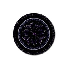 Fractal Abstract Purple Majesty Rubber Coaster (round)