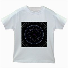 Fractal Abstract Purple Majesty Kids White T Shirts