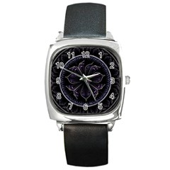 Fractal Abstract Purple Majesty Square Metal Watch