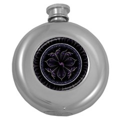 Fractal Abstract Purple Majesty Round Hip Flask (5 Oz)