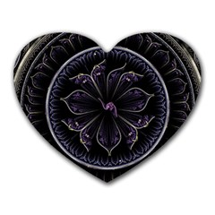 Fractal Abstract Purple Majesty Heart Mousepads