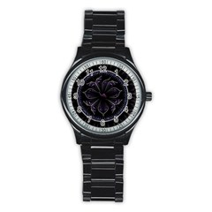 Fractal Abstract Purple Majesty Stainless Steel Round Watch