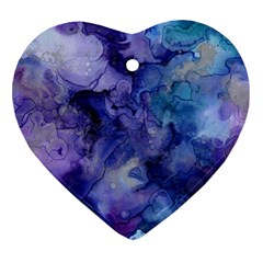 Ink Background Swirl Blue Purple Ornament (heart)