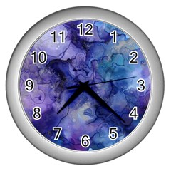 Ink Background Swirl Blue Purple Wall Clocks (silver)