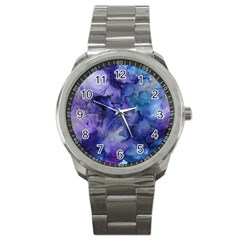 Ink Background Swirl Blue Purple Sport Metal Watch