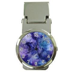 Ink Background Swirl Blue Purple Money Clip Watches