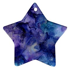 Ink Background Swirl Blue Purple Star Ornament (two Sides)