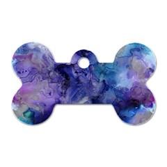 Ink Background Swirl Blue Purple Dog Tag Bone (one Side)