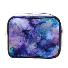 Ink Background Swirl Blue Purple Mini Toiletries Bags