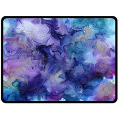 Ink Background Swirl Blue Purple Fleece Blanket (large)