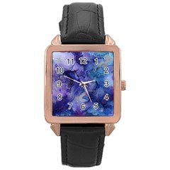 Ink Background Swirl Blue Purple Rose Gold Leather Watch