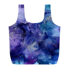 Ink Background Swirl Blue Purple Full Print Recycle Bags (l)