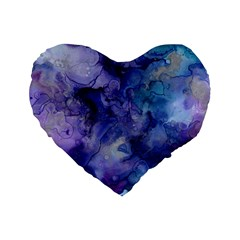 Ink Background Swirl Blue Purple Standard 16  Premium Flano Heart Shape Cushions by Nexatart