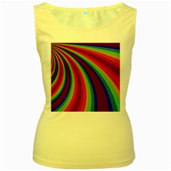 Abstract Pattern Lines Wave Women s Yellow Tank Top by Nexatart
