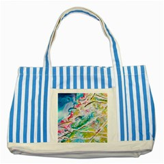 Art Abstract Abstract Art Striped Blue Tote Bag